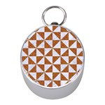 TRIANGLE1 WHITE MARBLE & RUSTED METAL Mini Silver Compasses Front