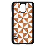 TRIANGLE1 WHITE MARBLE & RUSTED METAL Samsung Galaxy S5 Case (Black) Front