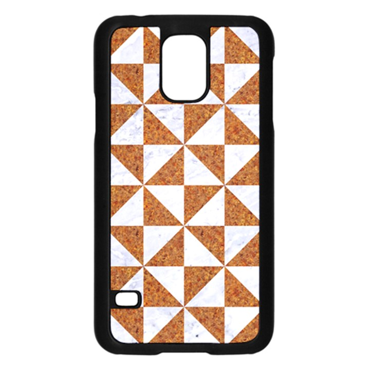 TRIANGLE1 WHITE MARBLE & RUSTED METAL Samsung Galaxy S5 Case (Black)