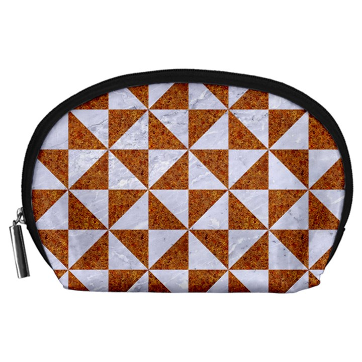 TRIANGLE1 WHITE MARBLE & RUSTED METAL Accessory Pouches (Large)