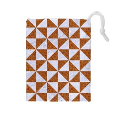 Triangle1 White Marble & Rusted Metal Drawstring Pouches (large)
