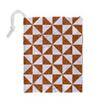 TRIANGLE1 WHITE MARBLE & RUSTED METAL Drawstring Pouches (Large)  Back