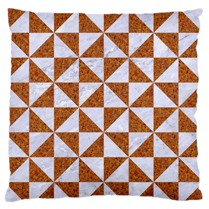 TRIANGLE1 WHITE MARBLE & RUSTED METAL Standard Flano Cushion Case (One Side)