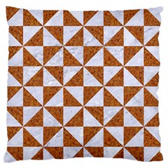 Triangle1 White Marble & Rusted Metal Large Flano Cushion Case (two Sides)
