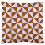TRIANGLE1 WHITE MARBLE & RUSTED METAL Large Flano Cushion Case (Two Sides) Back