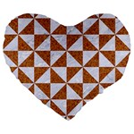 TRIANGLE1 WHITE MARBLE & RUSTED METAL Large 19  Premium Flano Heart Shape Cushions Front