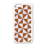 TRIANGLE1 WHITE MARBLE & RUSTED METAL Apple iPhone 6/6S White Enamel Case Front