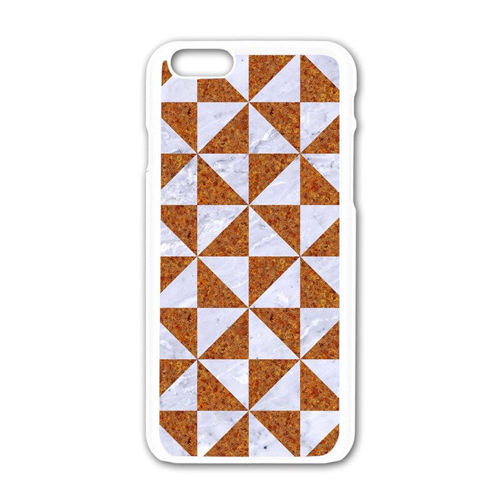 TRIANGLE1 WHITE MARBLE & RUSTED METAL Apple iPhone 6/6S White Enamel Case