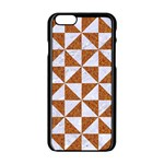 TRIANGLE1 WHITE MARBLE & RUSTED METAL Apple iPhone 6/6S Black Enamel Case Front