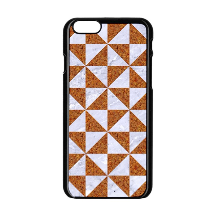 TRIANGLE1 WHITE MARBLE & RUSTED METAL Apple iPhone 6/6S Black Enamel Case