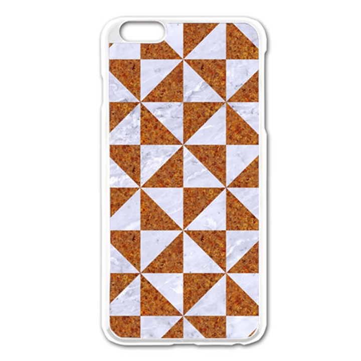 TRIANGLE1 WHITE MARBLE & RUSTED METAL Apple iPhone 6 Plus/6S Plus Enamel White Case