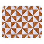 TRIANGLE1 WHITE MARBLE & RUSTED METAL Double Sided Flano Blanket (Large)   Blanket Back