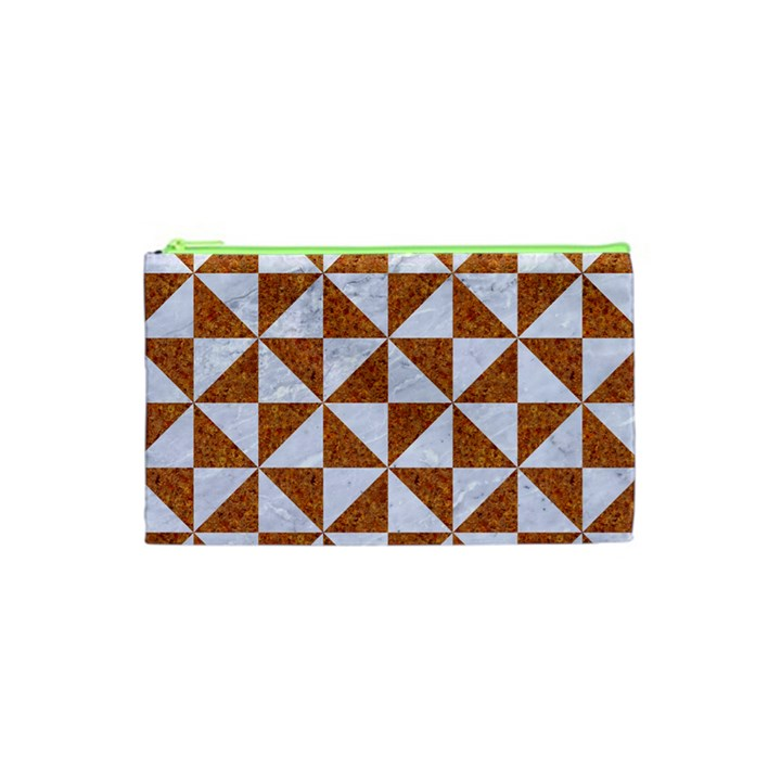 TRIANGLE1 WHITE MARBLE & RUSTED METAL Cosmetic Bag (XS)