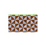 TRIANGLE1 WHITE MARBLE & RUSTED METAL Cosmetic Bag (XS) Back