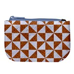 TRIANGLE1 WHITE MARBLE & RUSTED METAL Large Coin Purse Front