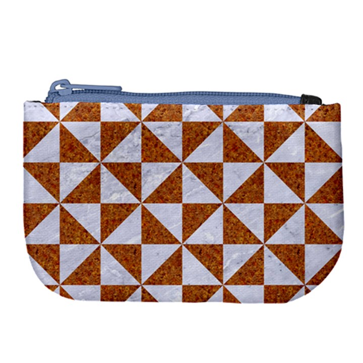 TRIANGLE1 WHITE MARBLE & RUSTED METAL Large Coin Purse