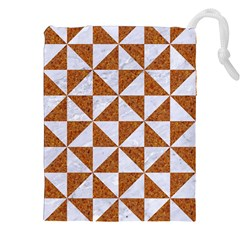 Triangle1 White Marble & Rusted Metal Drawstring Pouches (xxl)