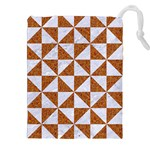 TRIANGLE1 WHITE MARBLE & RUSTED METAL Drawstring Pouches (XXL) Front