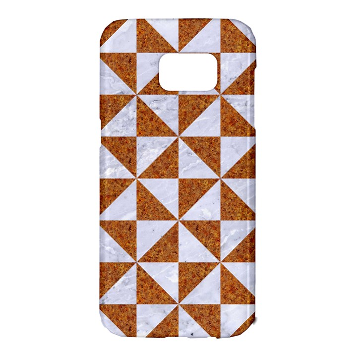 TRIANGLE1 WHITE MARBLE & RUSTED METAL Samsung Galaxy S7 Edge Hardshell Case