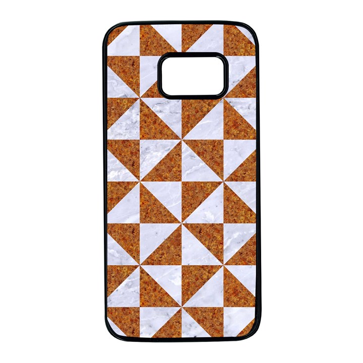 TRIANGLE1 WHITE MARBLE & RUSTED METAL Samsung Galaxy S7 Black Seamless Case