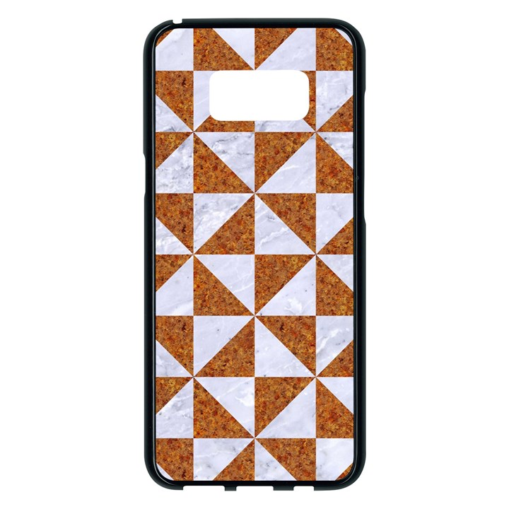 TRIANGLE1 WHITE MARBLE & RUSTED METAL Samsung Galaxy S8 Plus Black Seamless Case