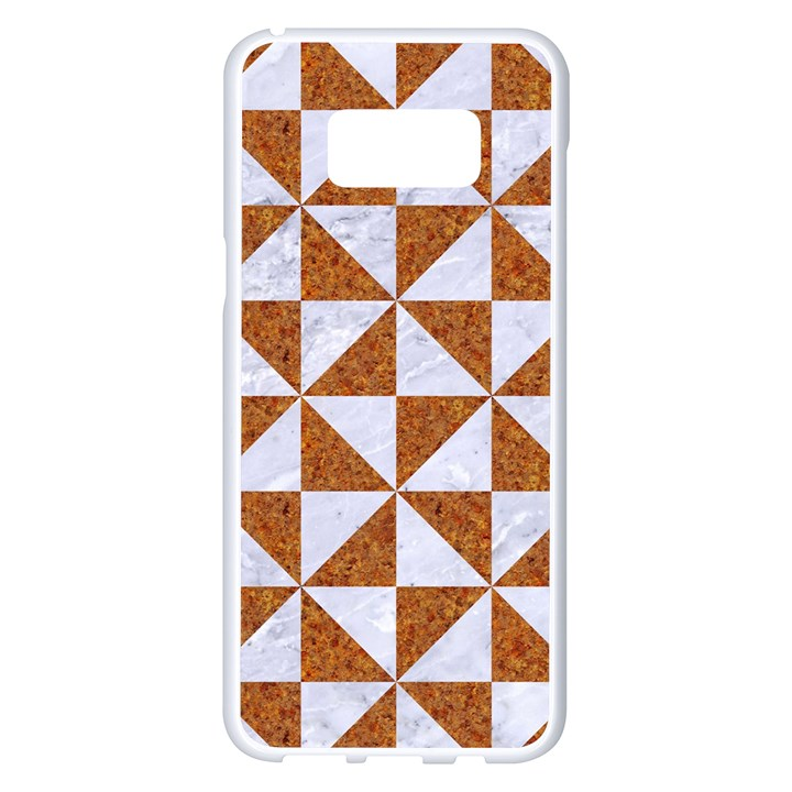 TRIANGLE1 WHITE MARBLE & RUSTED METAL Samsung Galaxy S8 Plus White Seamless Case