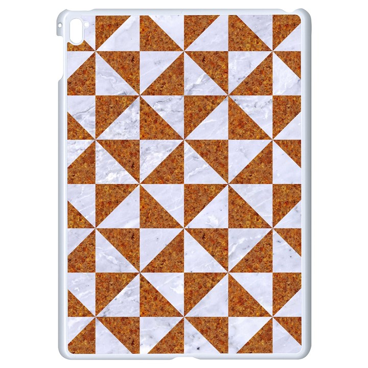 TRIANGLE1 WHITE MARBLE & RUSTED METAL Apple iPad Pro 9.7   White Seamless Case
