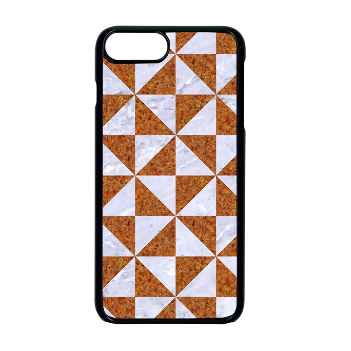 TRIANGLE1 WHITE MARBLE & RUSTED METAL Apple iPhone 8 Plus Seamless Case (Black)