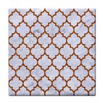TILE1 WHITE MARBLE & RUSTED METAL (R) Tile Coasters Front