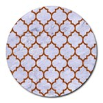 TILE1 WHITE MARBLE & RUSTED METAL (R) Round Mousepads Front