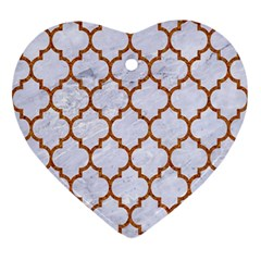 Tile1 White Marble & Rusted Metal (r) Ornament (heart)