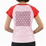 TILE1 WHITE MARBLE & RUSTED METAL (R) Women s Cap Sleeve T-Shirt Back