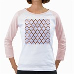 TILE1 WHITE MARBLE & RUSTED METAL (R) Girly Raglans Front