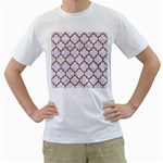 TILE1 WHITE MARBLE & RUSTED METAL (R) Men s T-Shirt (White) (Two Sided) Front