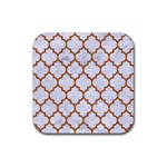 TILE1 WHITE MARBLE & RUSTED METAL (R) Rubber Coaster (Square)  Front