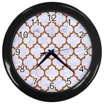 TILE1 WHITE MARBLE & RUSTED METAL (R) Wall Clocks (Black) Front