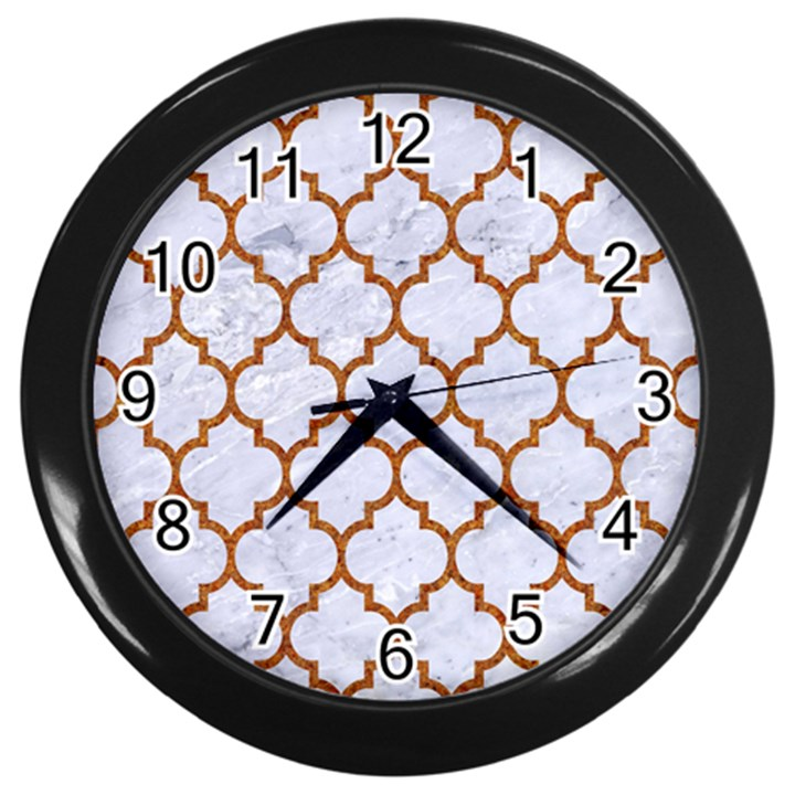 TILE1 WHITE MARBLE & RUSTED METAL (R) Wall Clocks (Black)