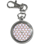TILE1 WHITE MARBLE & RUSTED METAL (R) Key Chain Watches Front