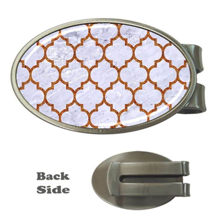 TILE1 WHITE MARBLE & RUSTED METAL (R) Money Clips (Oval)