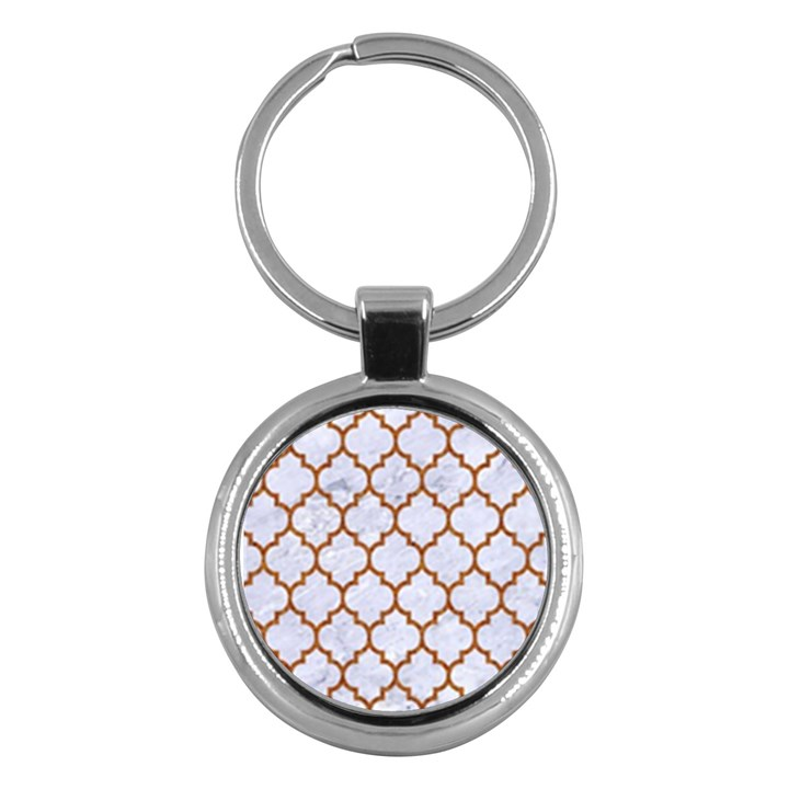 TILE1 WHITE MARBLE & RUSTED METAL (R) Key Chains (Round)
