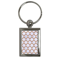Tile1 White Marble & Rusted Metal (r) Key Chains (rectangle)
