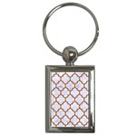 TILE1 WHITE MARBLE & RUSTED METAL (R) Key Chains (Rectangle)  Front