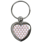 TILE1 WHITE MARBLE & RUSTED METAL (R) Key Chains (Heart)  Front