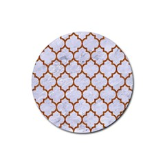 Tile1 White Marble & Rusted Metal (r) Rubber Coaster (round)