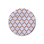 TILE1 WHITE MARBLE & RUSTED METAL (R) Rubber Coaster (Round)  Front