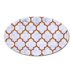 Tile1 White Marble & Rusted Metal (r) Oval Magnet
