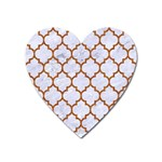 TILE1 WHITE MARBLE & RUSTED METAL (R) Heart Magnet Front