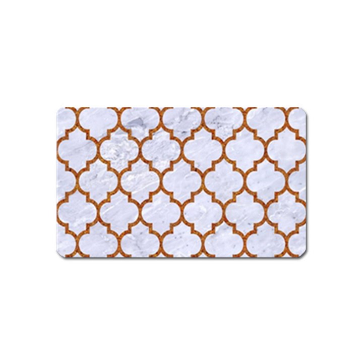 TILE1 WHITE MARBLE & RUSTED METAL (R) Magnet (Name Card)