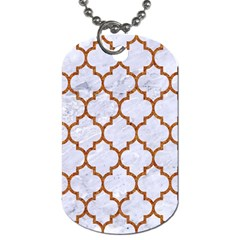 Tile1 White Marble & Rusted Metal (r) Dog Tag (two Sides)