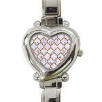 TILE1 WHITE MARBLE & RUSTED METAL (R) Heart Italian Charm Watch Front